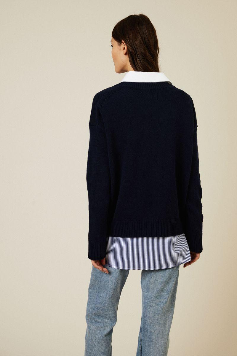 Oversize V-Neck Pullover Blau