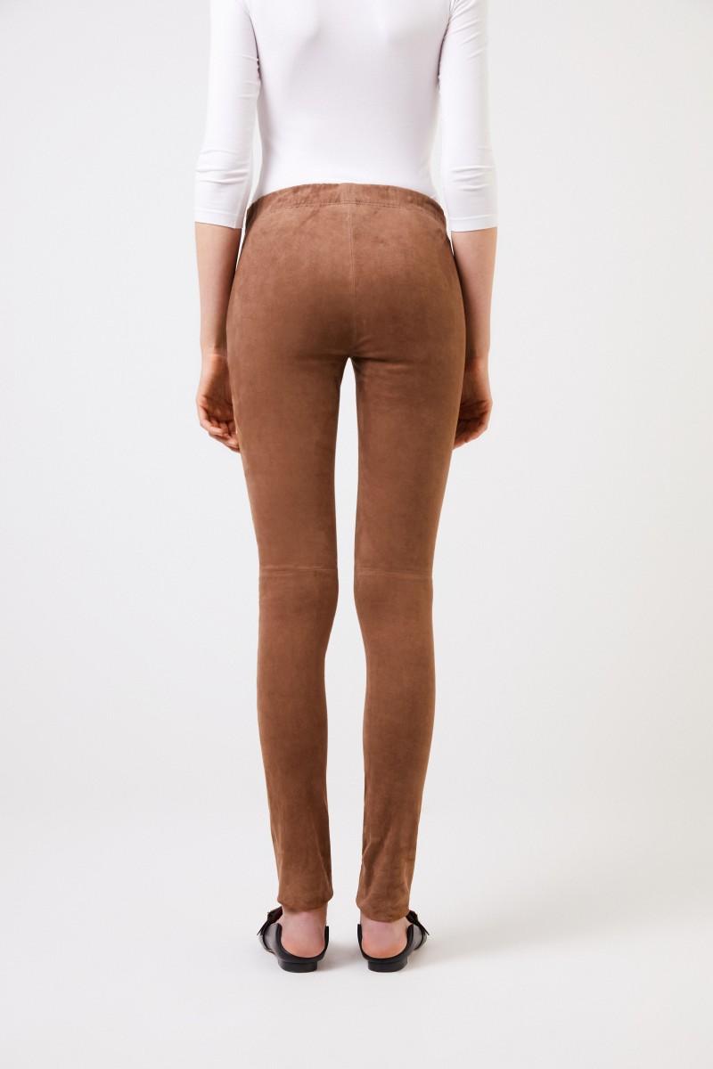 Veloursleder-Hose mit Ziernaht Braun