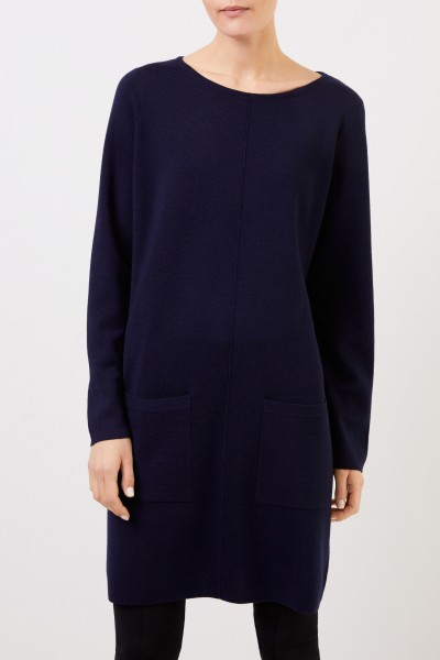 Allude Classic wool knitted dress navy Blue