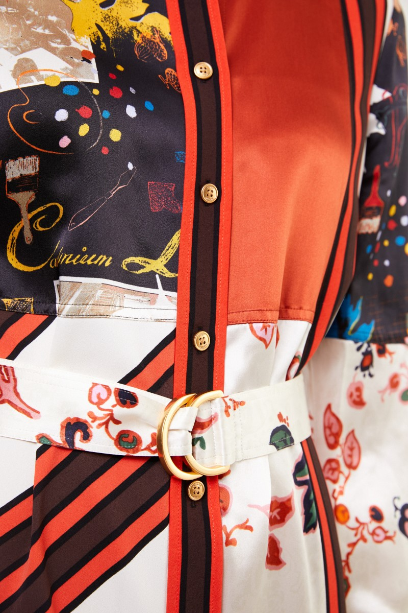 Tory Burch Hemdblusenkleid mit Patchwork Multi