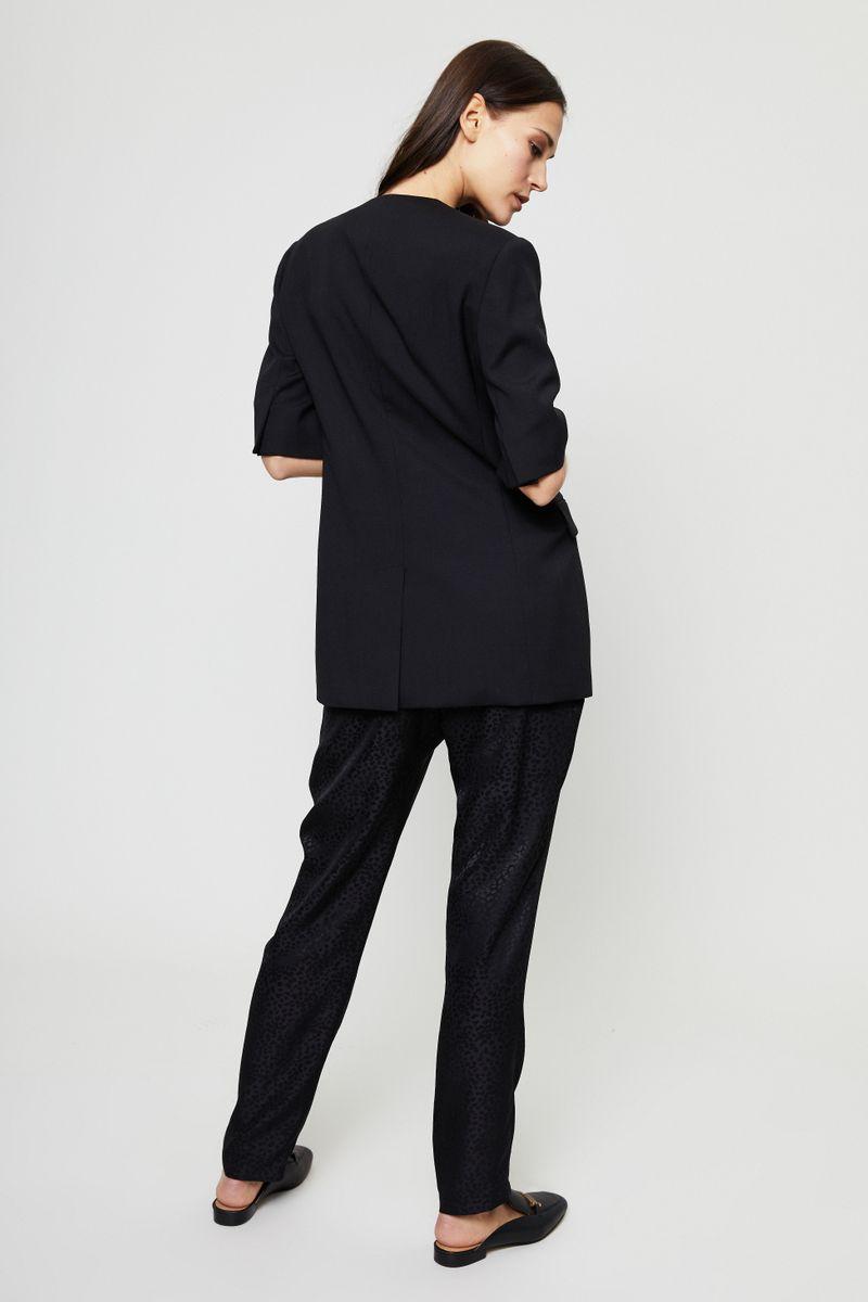 Taillierter Kurzarm-Wollblazer Schwarz