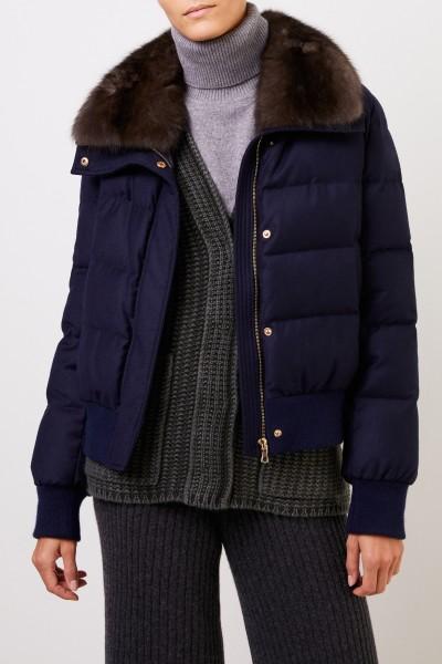 Yves Salomon Short down jacket with fur collar Navy Blue