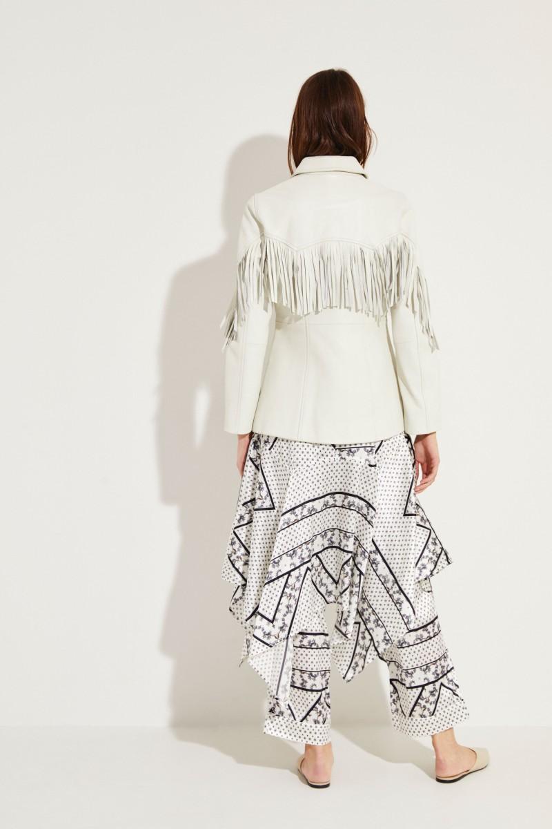 Leder-Jacke mit Fransen Weiß