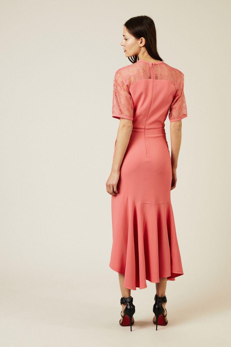 Abendkleid mit Lace-Details Coral