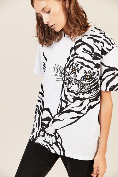 T-Shirt mit Tiger-Print Schwarz/Weiß