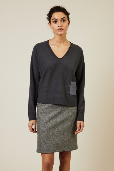 Cashmere-Woll-Pullover Taubenblau