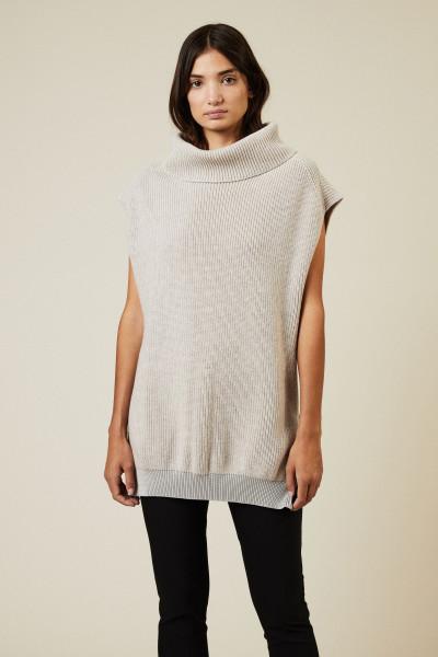 Woll-Strick-Pullover mit Reißverschlüssen Beige