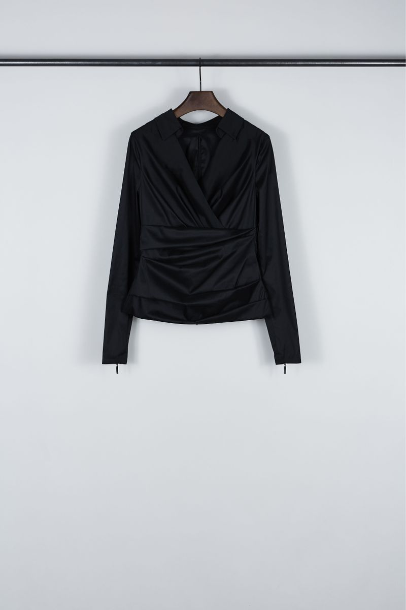 Wickel-Bluse 'Panama1' Schwarz