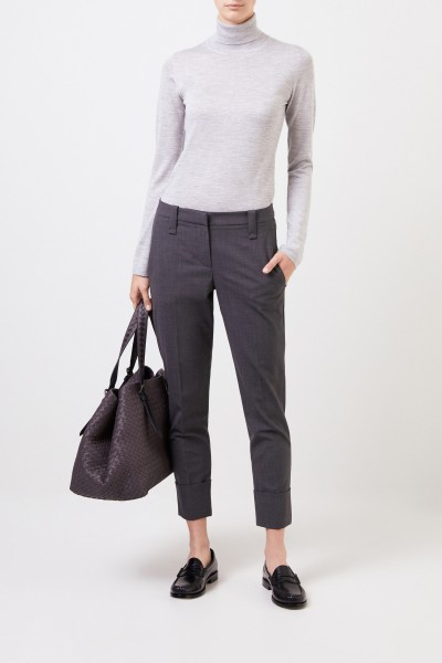 Wool pants with folded hem Grey