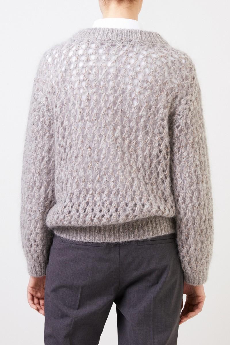 Brunello Cucinelli Grobstrick Mohair-Cashmere-Pullover Grau