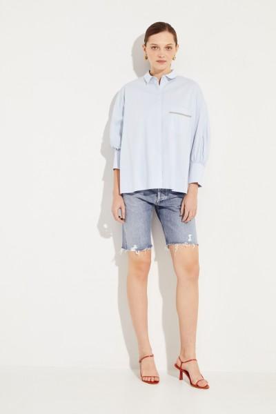 Oversize Bluse mit Verzierung Blau