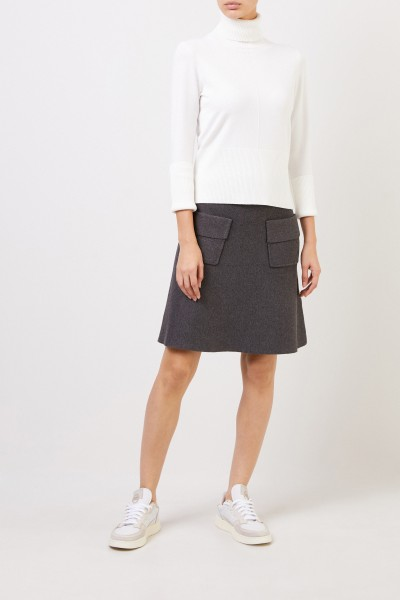 Knitted A-line skirt Grey