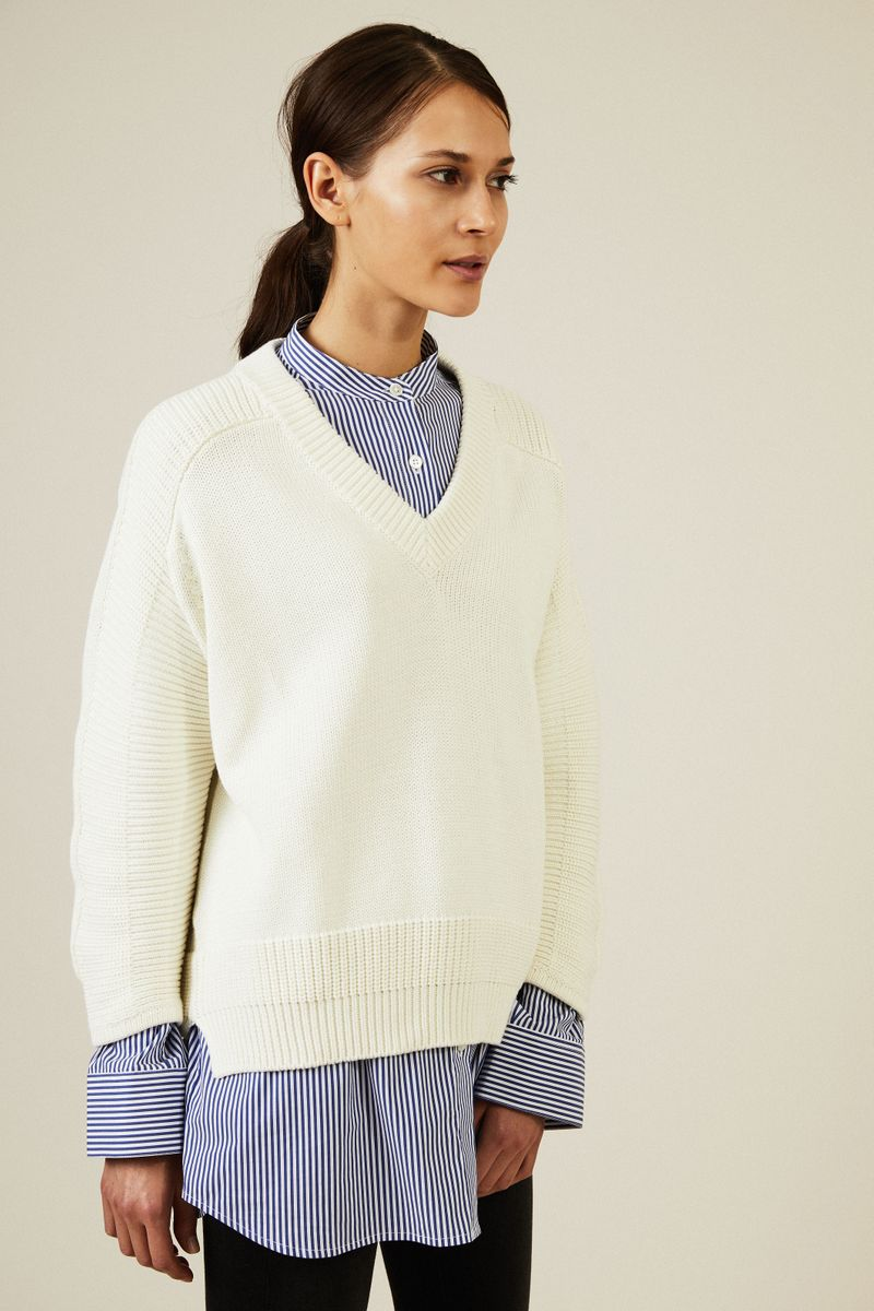 V-Neck Baumwoll-Pullover Écru