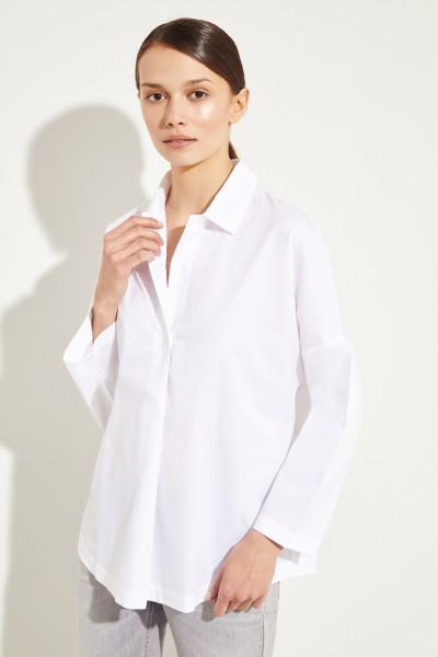 Oversize Baumwoll-Bluse Weiß