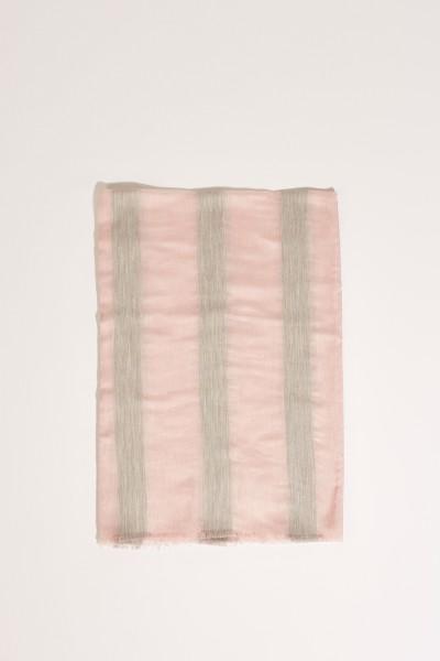 Seiden-Schal mit Streifen Rosé/Grau