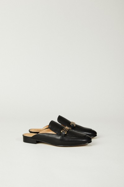 Leder-Mules 'Amelia Backless Loafer' Schwarz