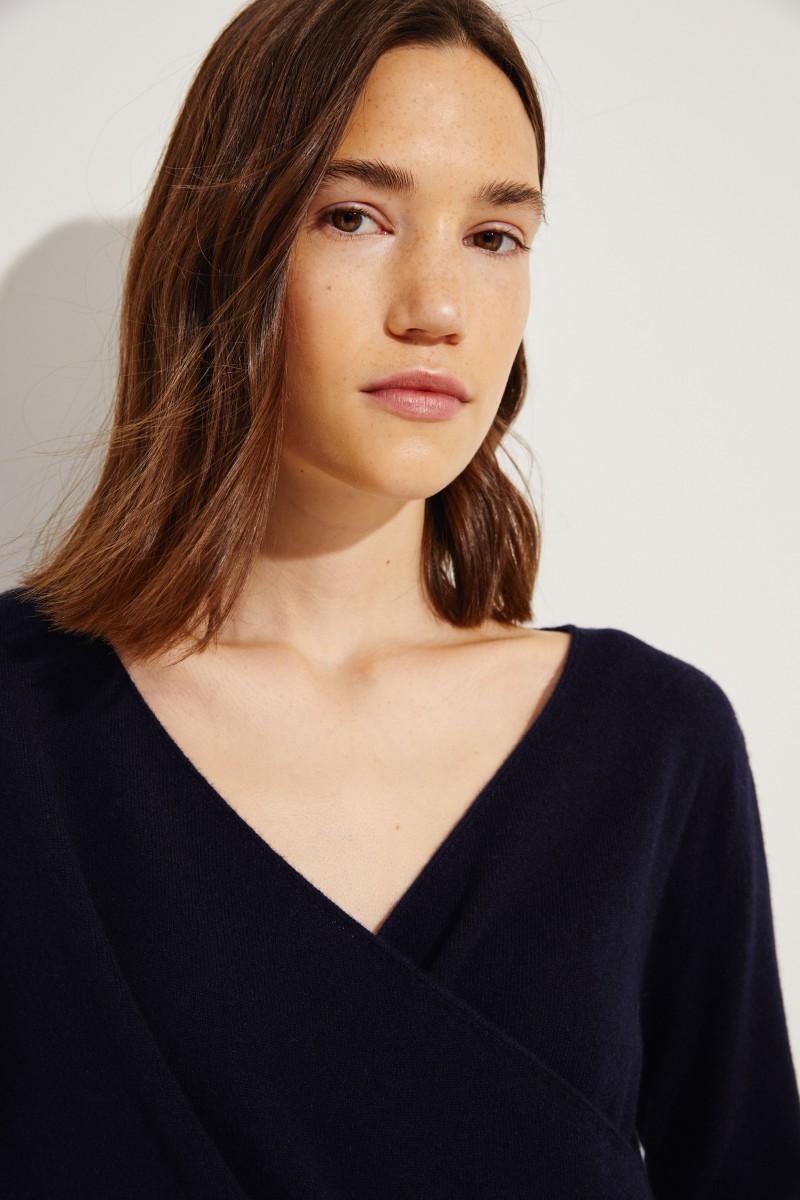 V-Neck Cashmere-Pullover Marineblau