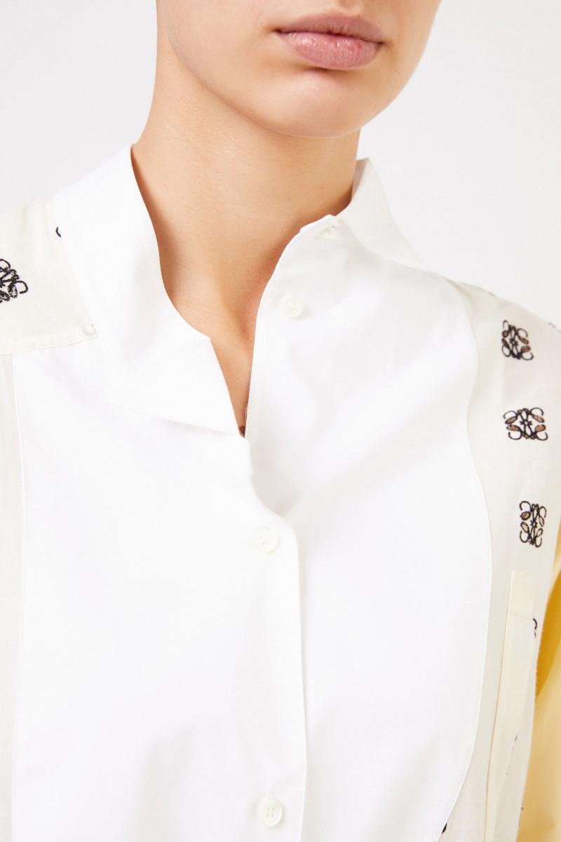 Loewe Baumwollbluse mit Logo-Stickerei Gelb/Weiß