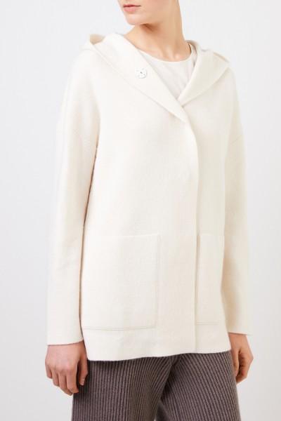 Iris von Arnim Doubleface cashmere-silk jacket 'Polla' with hood Ecru