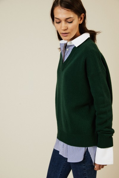 Oversize V-Neck Pullover Grün