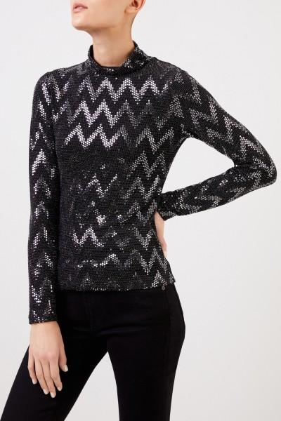 Steffen Schraut Long sleeve shirt with sequins Black/Silver