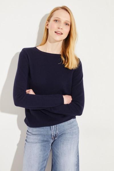 Klassischer Cashmere-Pullover Marineblau