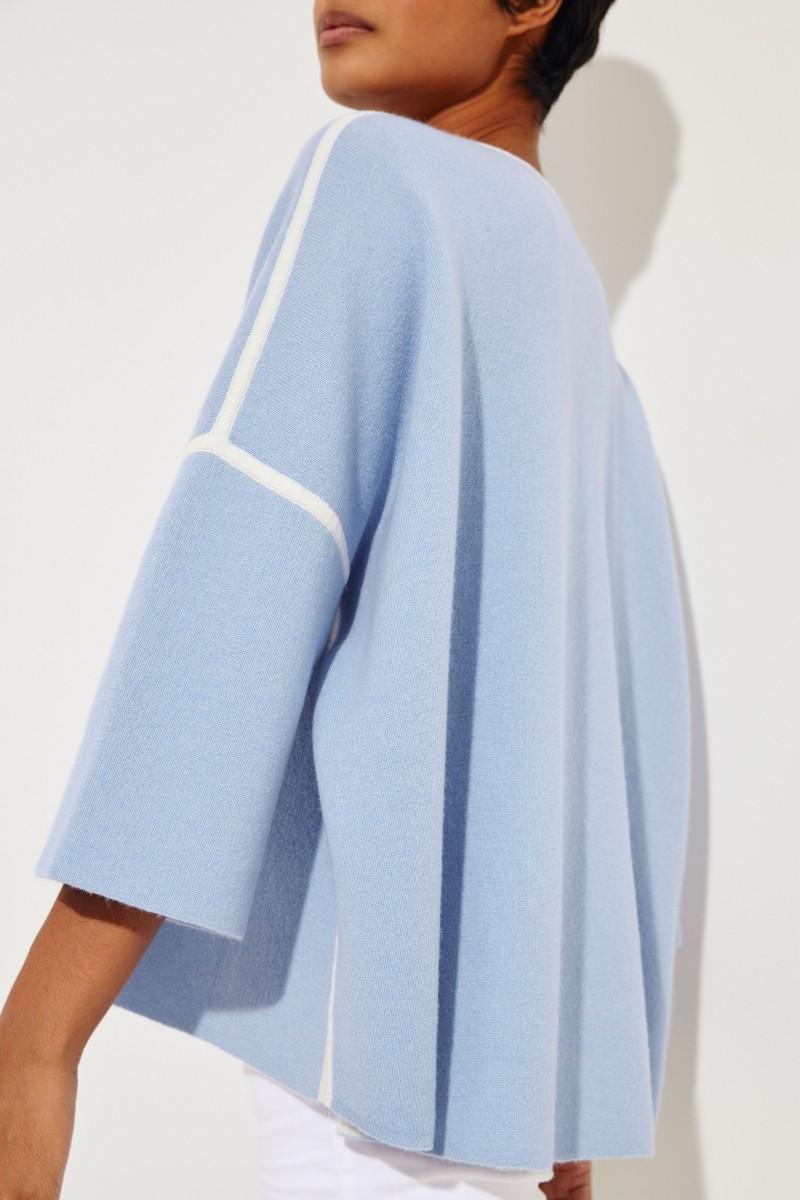 Doubleface-Pullover 'Yamila' Blau/Crème