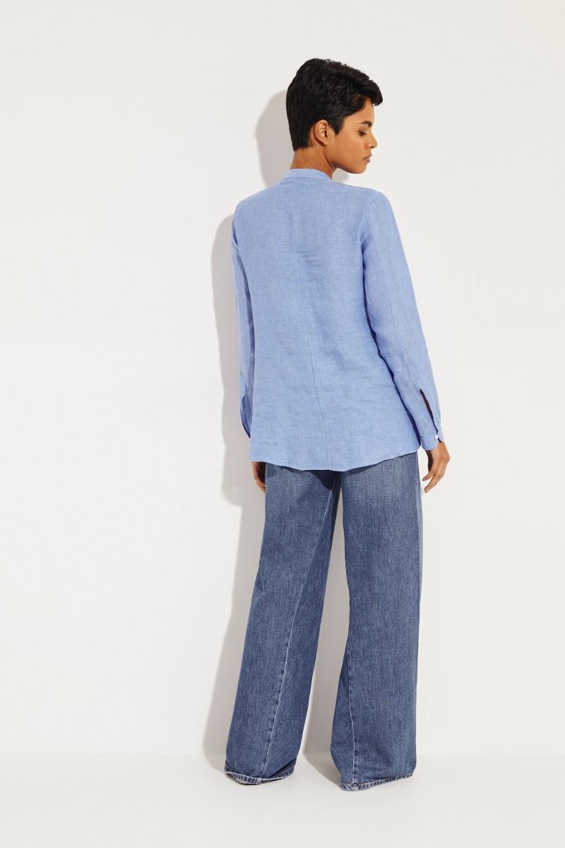 Leinen-Bluse mit Rüschen Blau