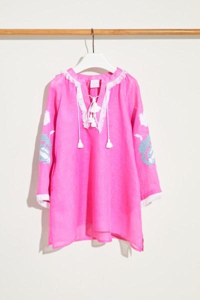 Kinder Leinen-Kleid 'Daniela Mini' mit Stickerei Fuchsia/Multi