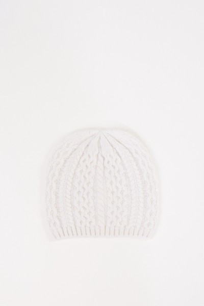 Uzwei Cashmere hat with cable stitch White