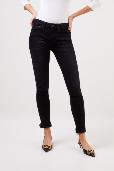 R13 Skinny-Jeans 'Alison' with open hems Black