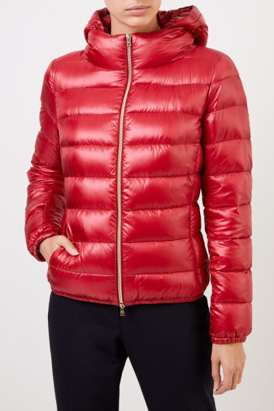 Herno Short down jacket with hood Red