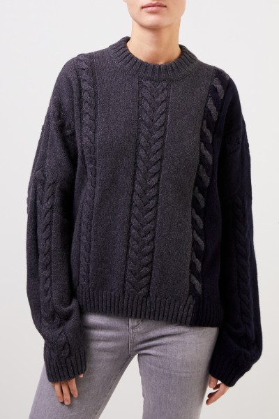 Maison Kitsuné Wool cashmere pullover with cable pattern Anthracite/Navy Blue