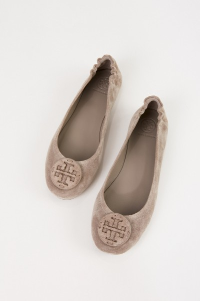 Tory Burch Leder-Ballerina 'Minnie Travel Ballet' Grau