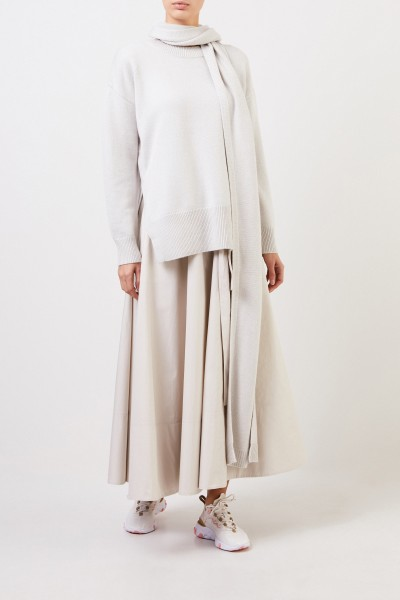 Woll-Cashmere Pullover mit Schaldetail Grau/Beige