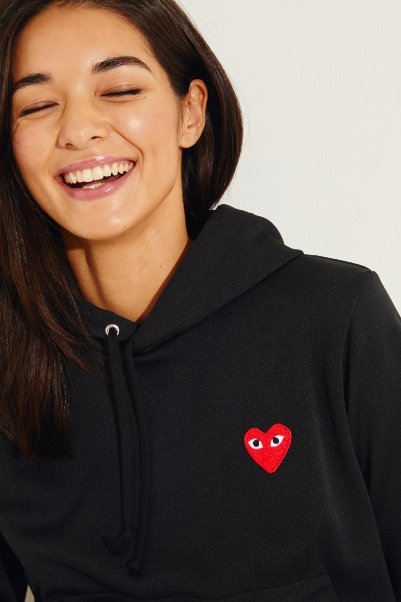 Hoodie mit Herz-Emblem Schwarz