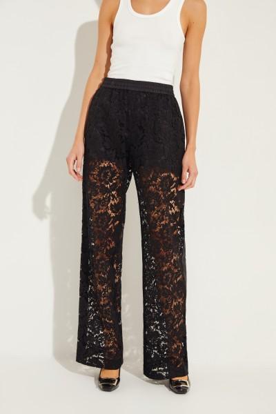 Silk lace trousers Black