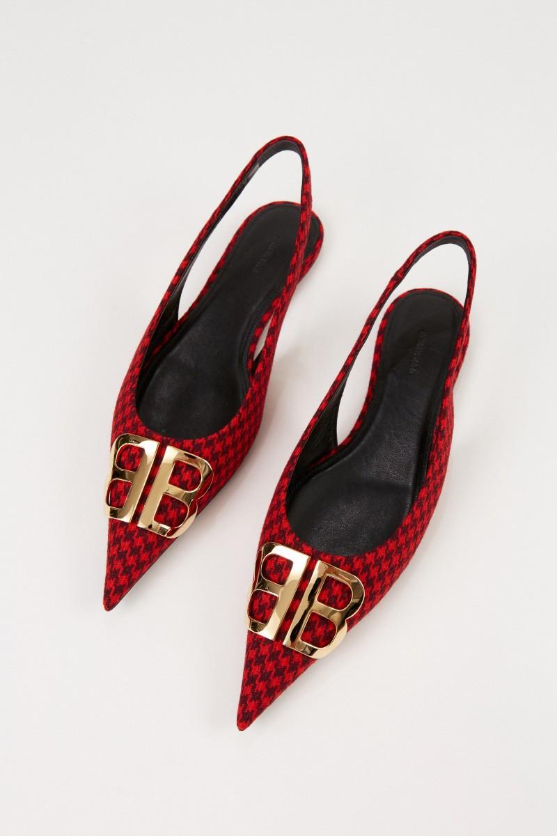 Balenciaga Spitzer Leder-Flat mit Pepitamuster Rot/Schwarz