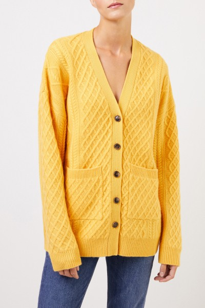Uzwei Cashmere cardigan with cable stitch Yellow