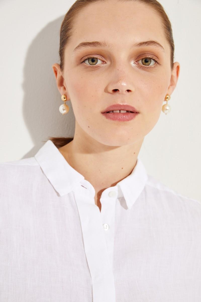 Ausgestellte Leinen-Bluse Weiß