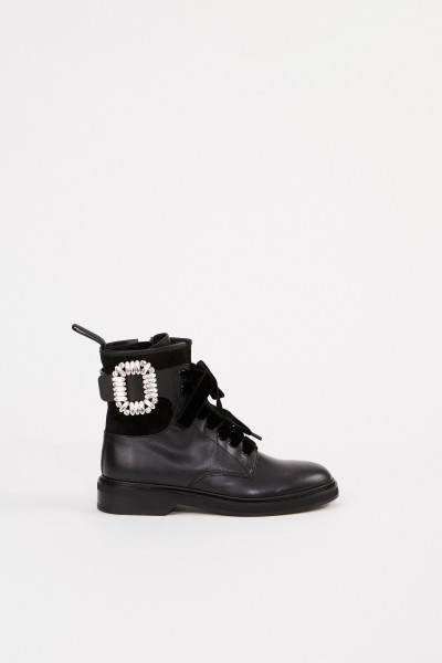 Leather Boots 'Viv rangers Strass Buckle' Black