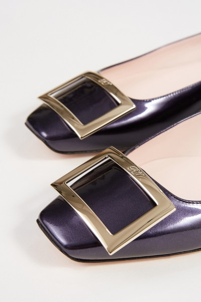 Roger Vivier Patent Leather Flat 'Trumpet' with Buckle Blue