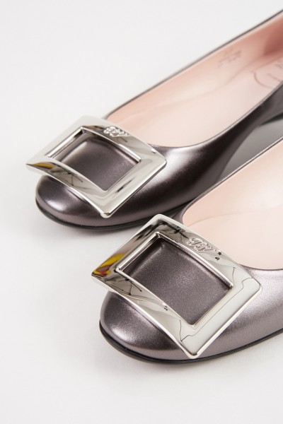 Roger Vivier Flats 'Gommette' with Glitter Leather Grey