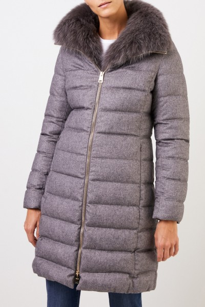 Herno Cashmere silk down coat with fox collar Grey