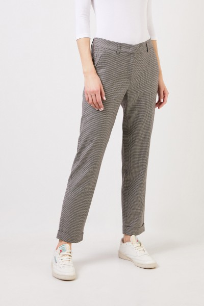 Fabiana Filippi Houndstooth trousers with hem turn Black/White