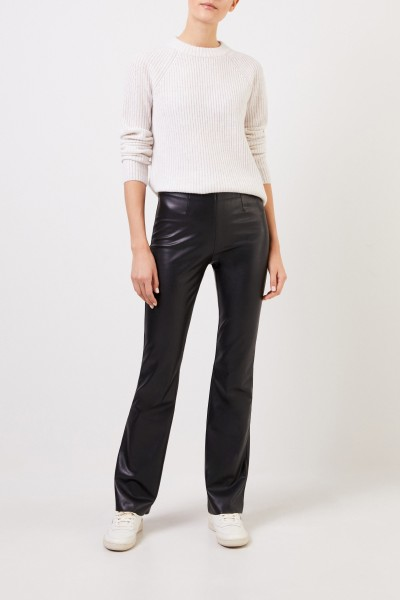 Klassischer Cashmere-Pullover Weiß/Grau Meliert