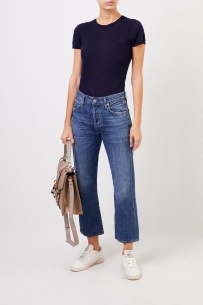 Woll-T-Shirt Marineblau