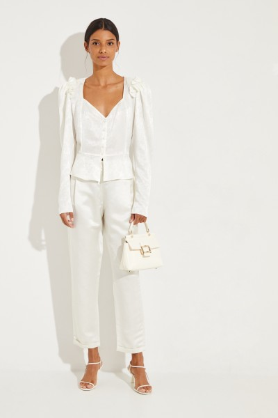 Magda Butrym Silk blouse 'Evora' with frills White