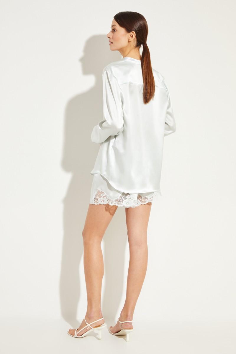 Seiden-Bluse mit Glanz Mint