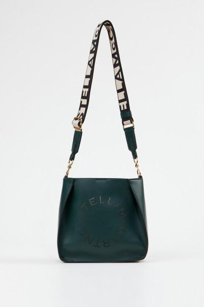 Stella McCartney Mini shoulder bag with logo strap Dark Green